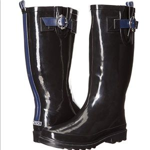 Nautica Black Rain Rubber Tall Wide Calf Boots ☔️